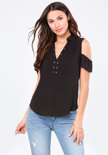 Fashion Short Sleeve Loose Casual T-shirts Women Blouse Zoey Cold Shoulder Tops