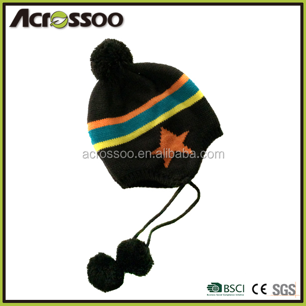 Girl's colorful striped knit earflap pompom hat/acrylic custom designed winter tassel beanie