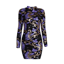 2017 New Spring Women Stand Neck Long Sleeve Sequin Print Vintage Bodycon Sheath Party Dresses