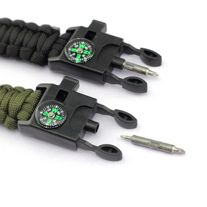 Promotional multifunctional buckle with screwdriver paracord survival bracelet custom logo