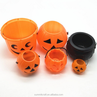 Plastic halloween pumpkin props led light up halloween buckets