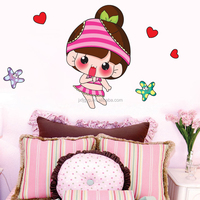 Removable PVC cartoon living room children's room washing room tolilt ltittle girl decorative wall and window stickers