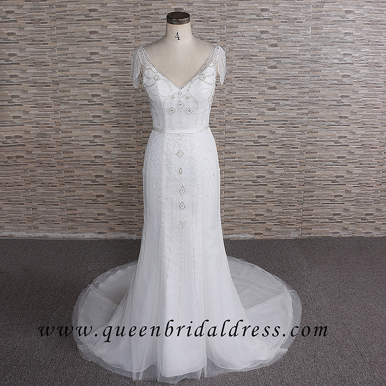 Dencent Ruffles sleeves wedding dresses V-neck wedding gown Beading mermaid bridal dress