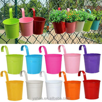 Metal Flower Pot Balcony Garden Planter Iron Hanging Flower Barrel