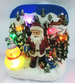 Resin christmas santa claus figurine with led light 5 led, music, usb, AAA not included