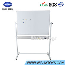 Interactive and magnetic Double Sided Reversible Mobile Dry Erase Magnetic Rolling Whiteboard Easy Flip