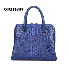 Best Selling Good Quality Fashion Alligator Pattern Genuine Leather Ladies Tote Bag