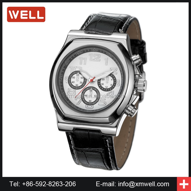 Men's Sports Quartz Watches Luxury Leather Band Wristwatches Men Vogue Watches