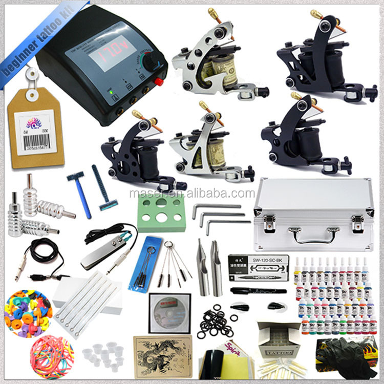 Low noise China tattoo machine with full set of tools, 5 manual guns tattoo machine kit, online retail store sell tattoo machine