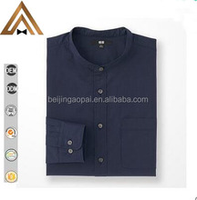 Hot selling handsome casual banded stand collar custom wholesale flannel shirt