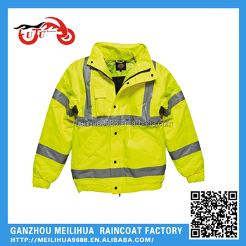 100% polyester lightweight safety wholesale waterproof high visibility reflective mens bomber jacket