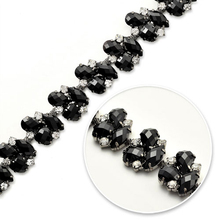 Garment accessories type rhinestone decorations black beaded lace trims