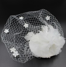 Handmade artistic white wedding net hat fascinator hair clip brides hair decoration hair accessory with big lace flower 89082