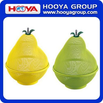 DIA.24.5CM PEAR SHAPED PLASTIC COATED WIRE FRUIT BASKET