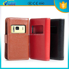 Open window strong protective PU leather case cover for nokia n8