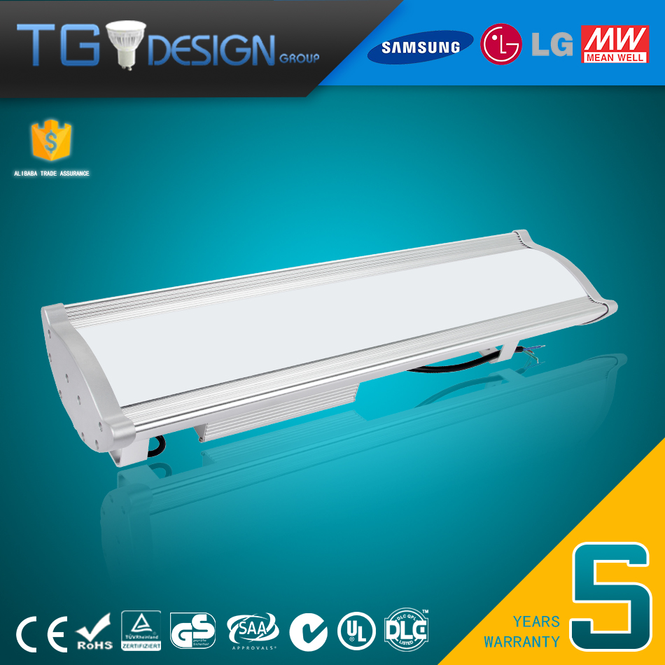 Improved Version 130LM Per Wattage and 60W LED Linear High Bay Light wtih 5 Years Warranty for Food Factories Car Washes Farms