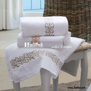 pure cotton hotel towel, embroidery hotel towel, luxury stars hotel towel for European Countries