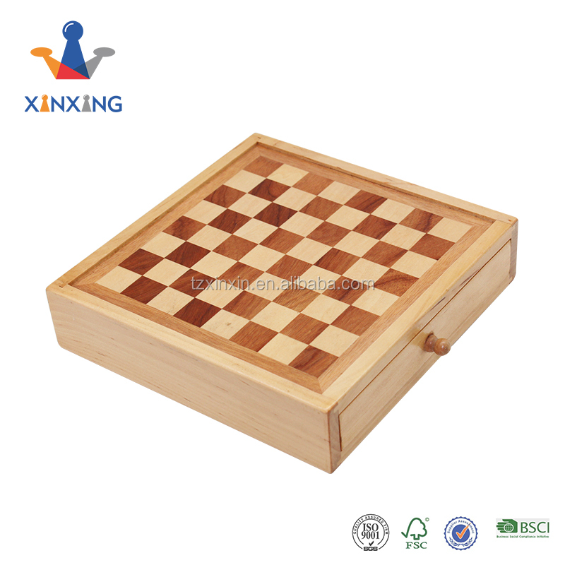 handmade wooden theme chess draughts backgammon set with chess pieces and checkers