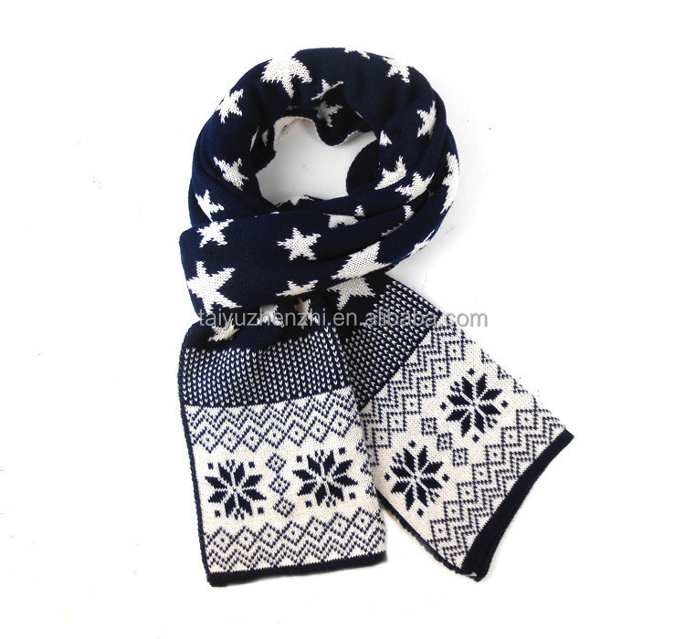 2016 new Christmas style jacquard fashionable knit tube scarves for boys with white stars