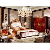 YB63 Antique Royal European Style Solid Wood 5PCS Bedroom Furniture, Classic Bedroom Set