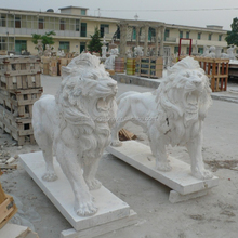 outdoor marble stone lion sculpture