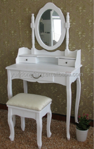 Bedroom white French solid wood KD dressing table with mirror ,makeup dresser