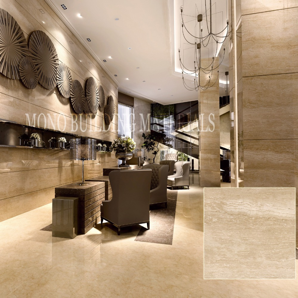 High Polished Roman Travertine Glazed Porcelain Tile