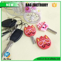 Promotional Cute Soft pvc Key Cover Key Top Head Cover Chain Cap