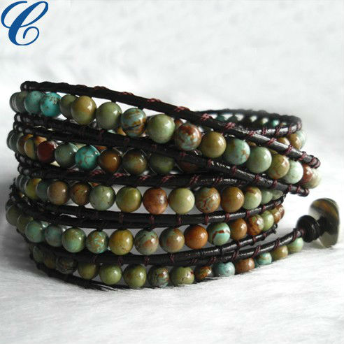 High End Leather Wrap Bead Bracelet Handmade