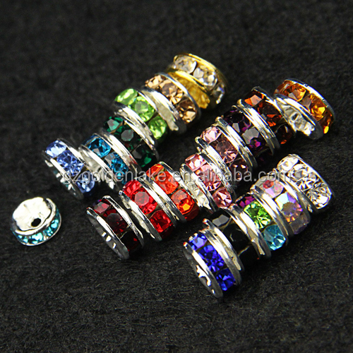 Fashion jewelry loose beads silver plating with clear crystal rhinestone rondelle beads