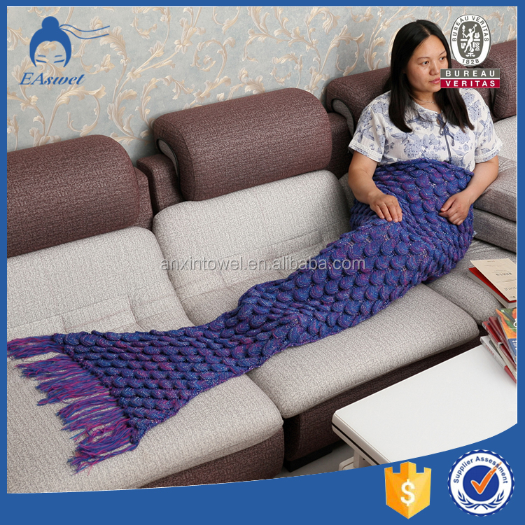 wholesale nice design custom plush mermaid tail blanket for sale from china