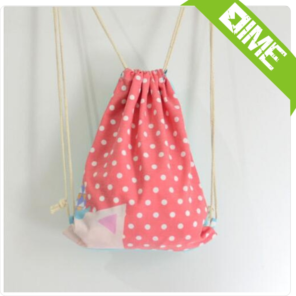 New Style Drawstring Bag With Red And White Spots