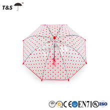 Tianshuo sunshade dome clear character hot sale full printed heart design kids poe material umbrella