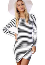 Dresses fashion women girl clothes White Long Sleeve Slim Striped Bodycon Dress