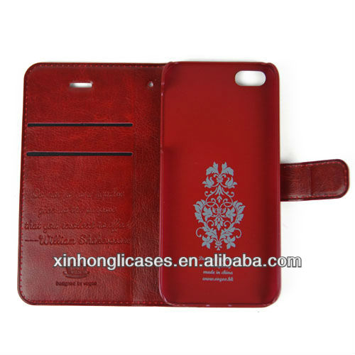 Geniune leather hot selling wallet case for iphone 5 cover