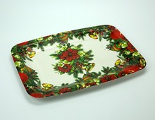 Full Print Cheap Plastic Christmas Plates Disposable with Rectangle