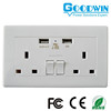 New product 2 gang wall switched power socket double outlets 16A