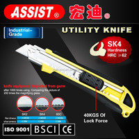 easy cutting sk-4 high hard sharpener cutting knife with rubber handle inside 3 blades utility knife