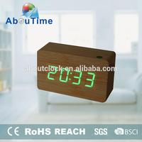 Antique wooden alarm clock with large LED digital display