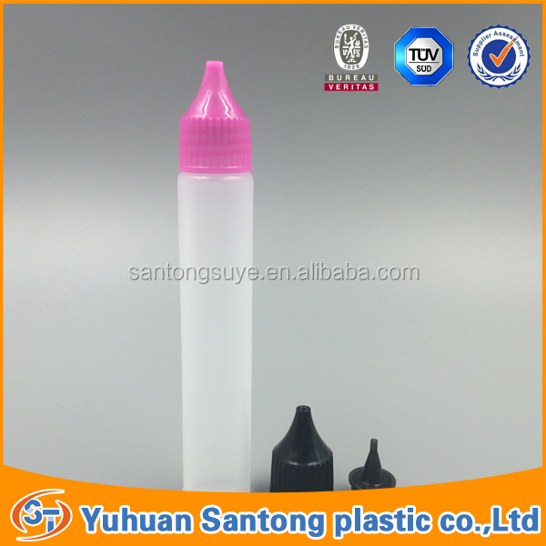 30ml long and slim colorful cover e juice bottle for e smoke oil