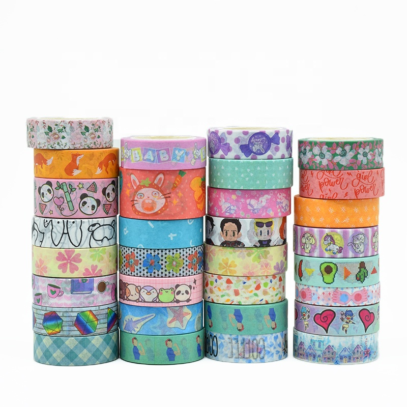 Hot Sell Free <strong>Sample</strong> Low MOQ 50 Rolls Foil Custom Design Printed Washi Paper Tape