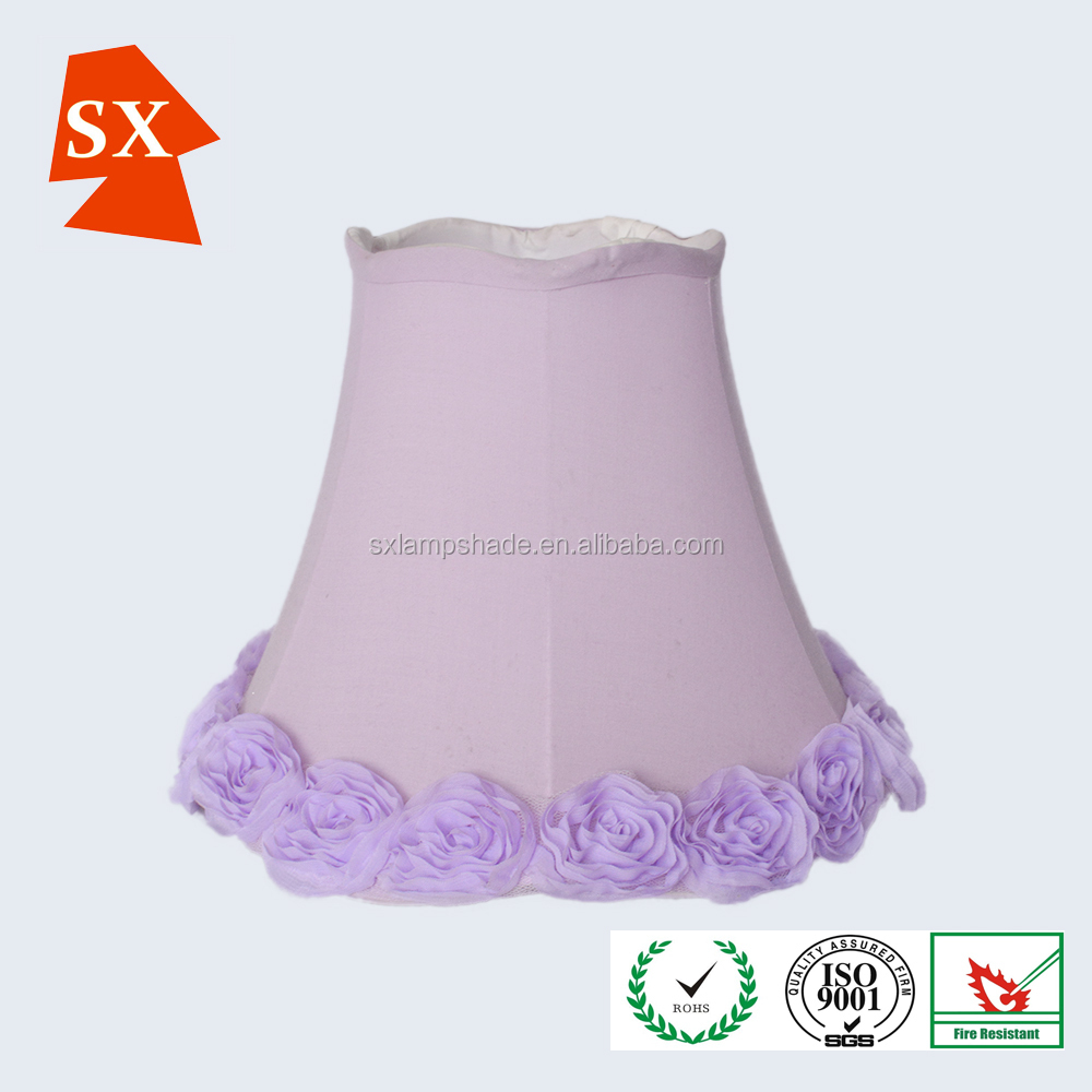 fashion design indoor wedding pink or purple rose TC fabric table lamp shade