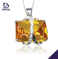 Fine jewelry silver shiny yellow quartz crystal pendant