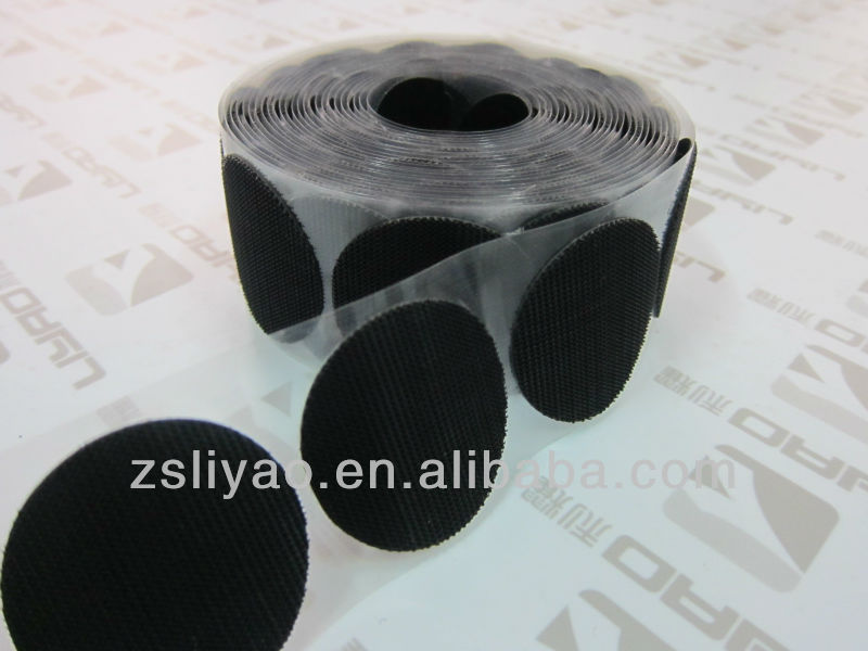 Self-Adhesive hook and loop Dots/ sticky back plastic hook coins with PET film/plastic hook