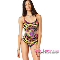 New Arrival Multicolor Kaleidoscope One Piece young swimsuit models pictures