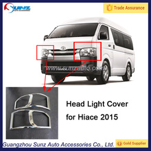 ABS Chromed Auto Exterior Accessories Head Light Trim for Toyota Hiace 2015