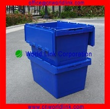 With Matched Cart 50kgs Security Moving Stackable Plastic Tote Bins