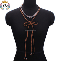 NYQ-00730 wholesale fashion trendy daily wear handmade woven black coffee fabric rope necklaces for women as gift