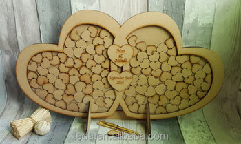 Love Heart style Wooden wedding Guest Book