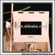 Hot New DIY Solar Powered Planks Wood Windmill House Toy For kids